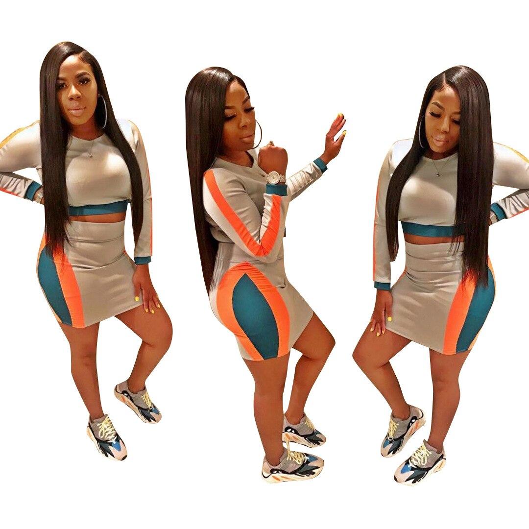 Africa New Temperament Fashion Elegant 2018 Women 2 Piece Overalls Set O-neck Full Sleeve Mini Skirt Bodycon Lady Set T3267H