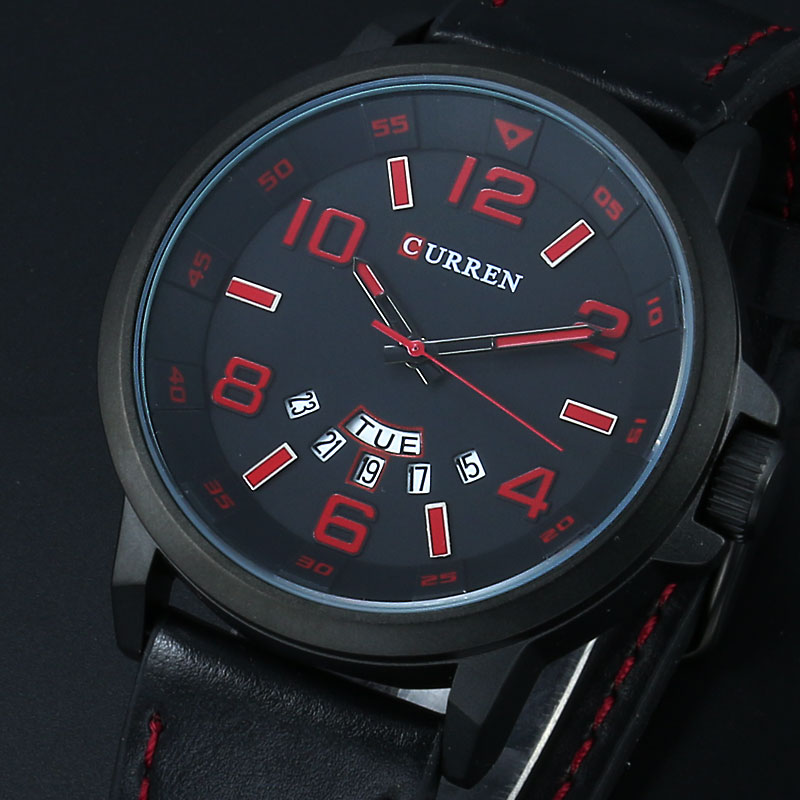 CURREN Luxury Brand Military Watches Men Quartz Analog 3D Face Leather Clock Man Sports Watches Army Watch Relogios Masculino curren men watch top luxury men quartz analog clock steel strap watches hours complete calendar relogios masculin drop shipping