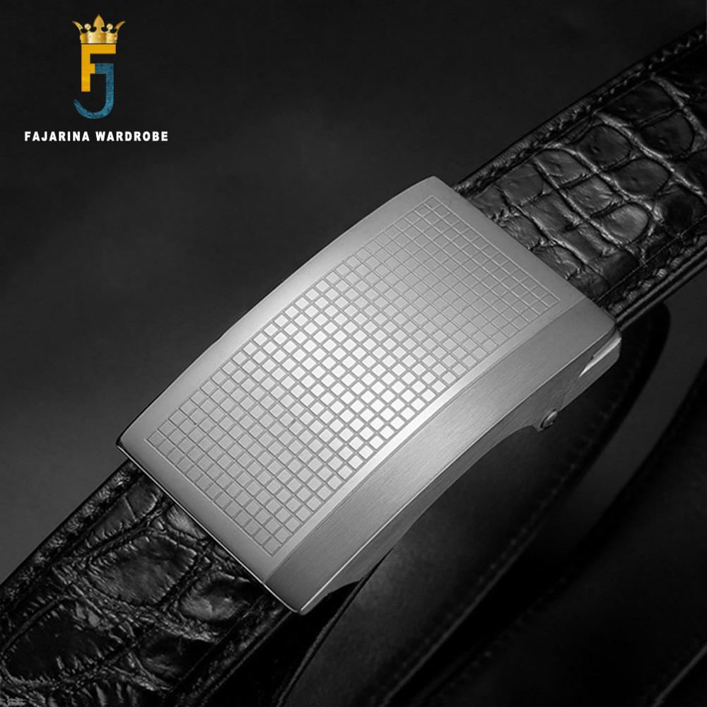 FAJARINA Top Quality Crocodile Skin Belts Paid Stainless Steel Automatic Buckle Fashion Belt Men 33mm Wide Luxury Packing EYFJ14 in Men 39 s Belts from Apparel Accessories