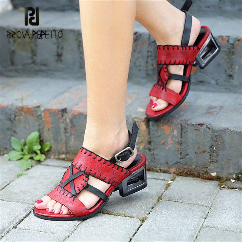 Prova Perfetto Handmade Women Gladiator Sandals Chunky Heel Sandal Female Summer Casual Shoes Woman Sandalia Feminina