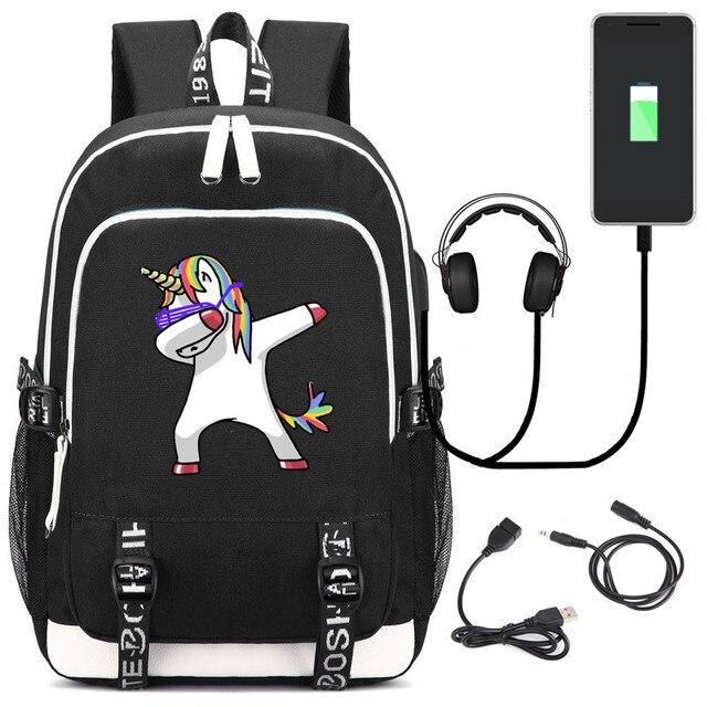 2f62dd0ebfac High Quality Rainbow Unicorn Printing Backpack USB Charging Laptop Backpack  Kawaii Women Backpack Canvas School Bags