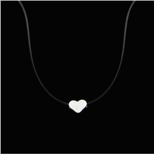 Line Transparan Memancing Kalung Perak Tak Terlihat Rantai Wanita Rhinestone Kalung Kalung Collier Femme Pendek Kalung & Liontin