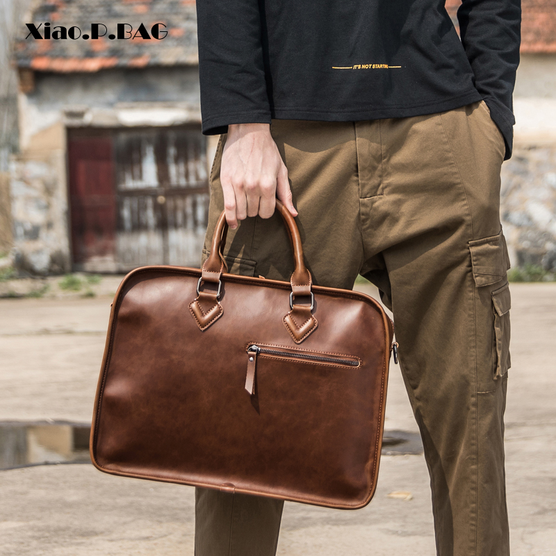 Brand Crazy Horse PU Leather Men Briefcase Vintage 14 inch Big Business Laptop Handbag Fashion Brown