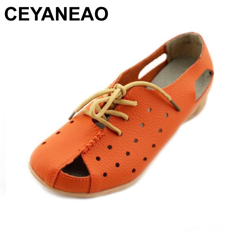 CEYANEAO Hollow Outs Breathable Summer Shoes Women Flats Genuine Leather Soft Women Loafers Ladies Moccasins Female C054