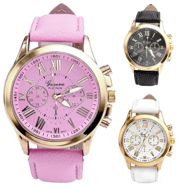 Quartz Wristwatches New Women's Fashion Geneva Roman Numerals Faux Leather Analog Quartz Wrist Watch faux leather analog wrist watch