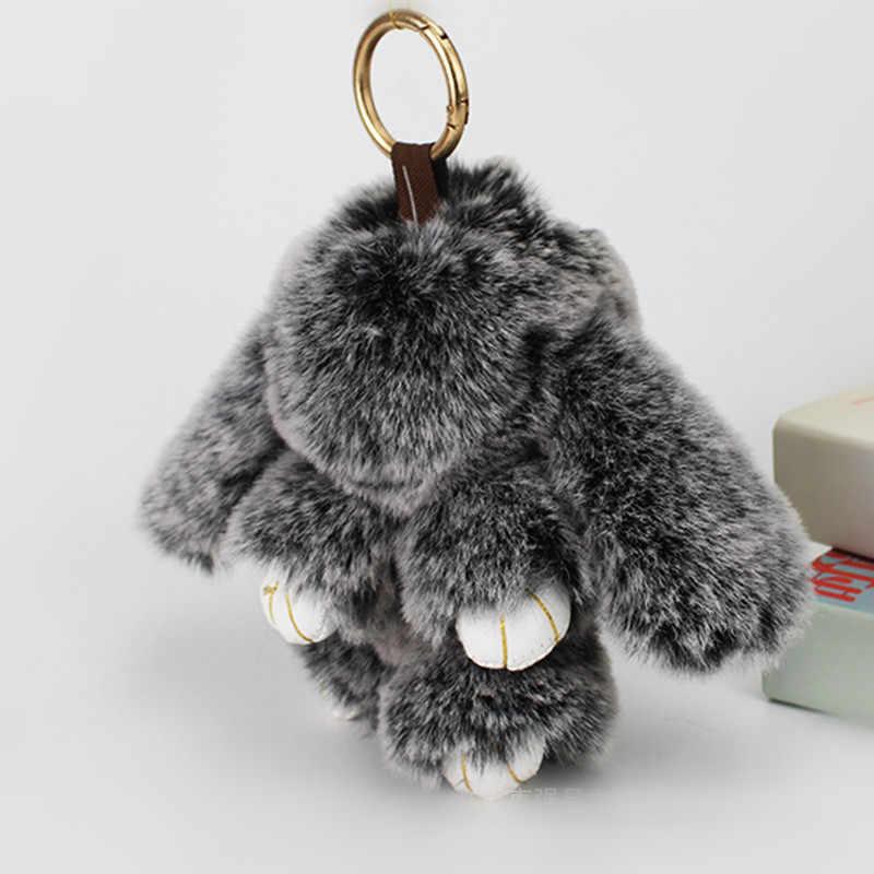 2017 pompom keychain trinket mini 13 CM falso coelho chaveiros em saco de pele de coelho Chaveiro encantos para os sacos de pele pom pom anime