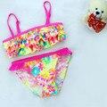 Algodón colorido de la niña de traje de baño bikini moda infantil trajes de baño trajes de baño para bebés 9-24 M ropa de bebé niñas kp-16057