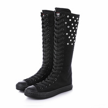 Casual shoes high to help autumn new long tube canvas rhinestone dance