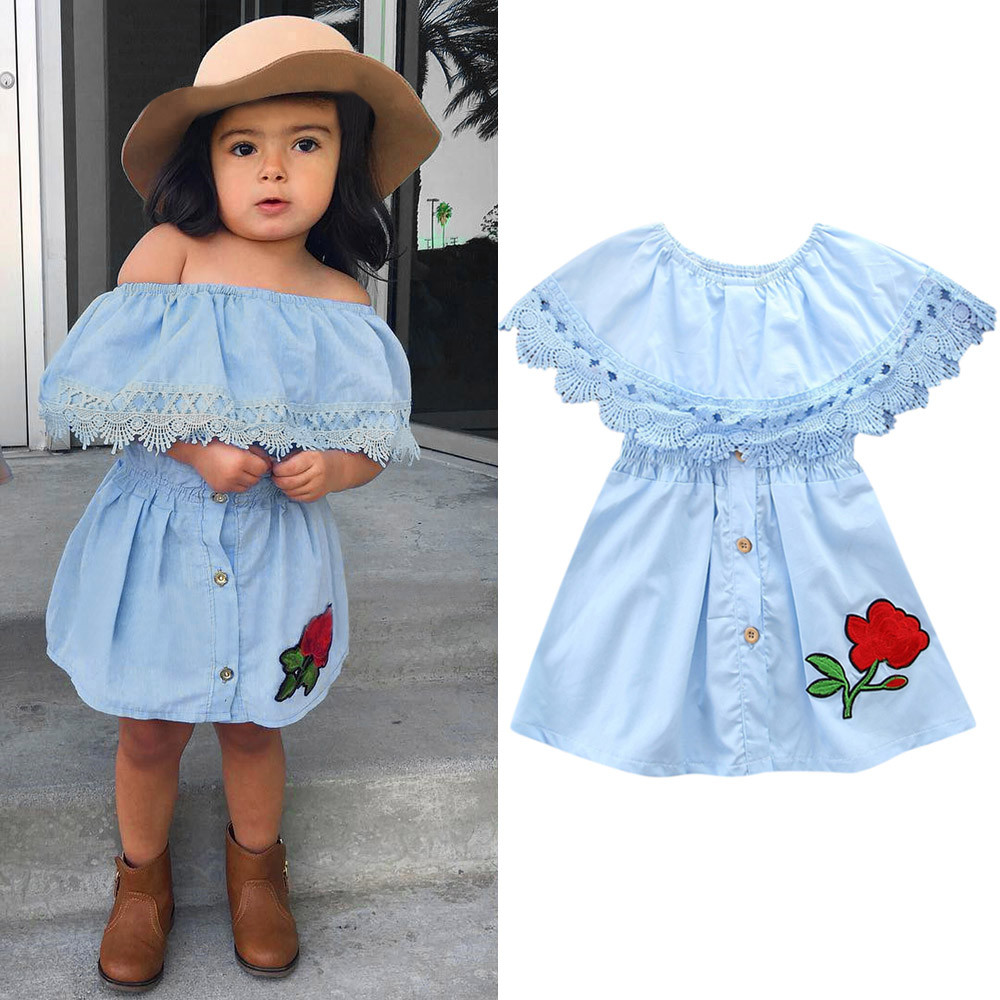 8af41c712ba89 Dress For Girls Summer Toddler Girls Princess Kids Lace Baby Party Denim  Off-Shoudler Dresses Cotton Fashion baby girl dress