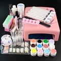 220V/110V 36w pink uv lamp 12 colors UV Gel solid uv gel cleanser plus nail tools kit