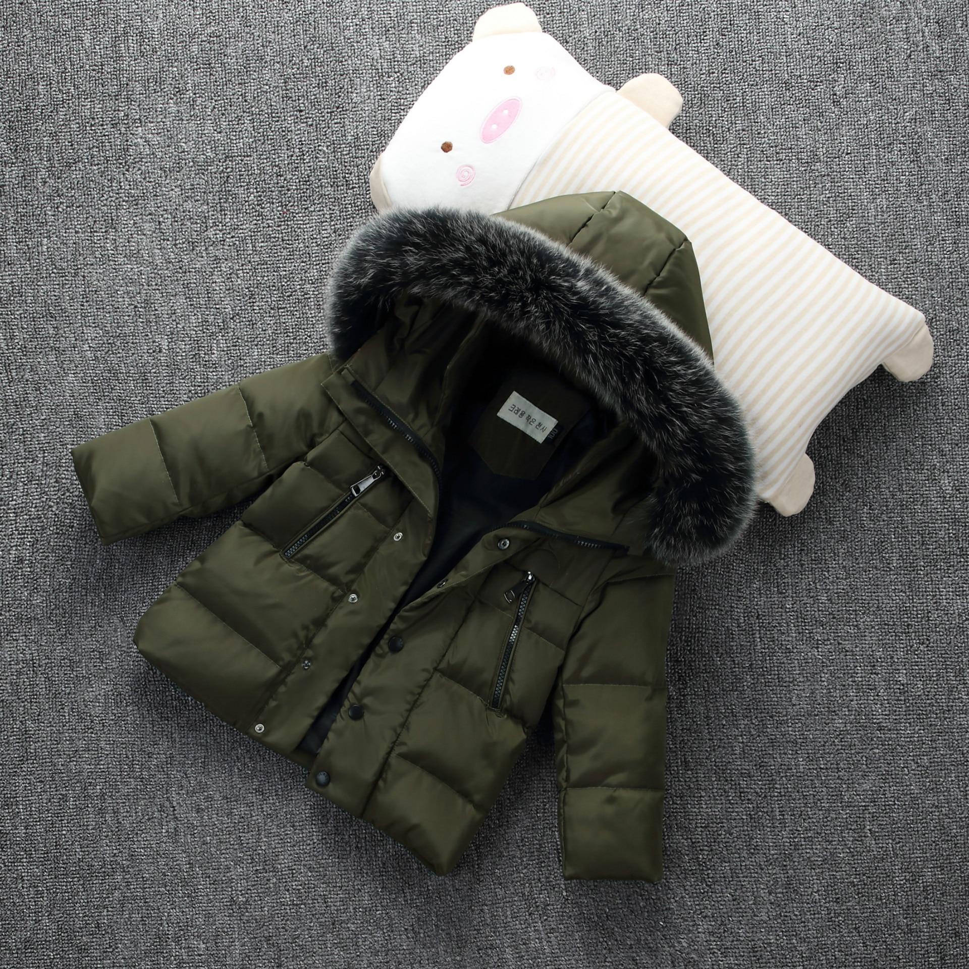 купить Baby Boys Down Jacket Boy's New 2018 Winter Coat Short Design Children's Thickening Down Coat with Fur Collar 3-10Years онлайн