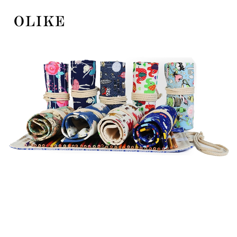 OLIKE 36/48/72 Holes Pencil Case School Canvas Roll Pouch Comestic Makeup Brush Bag Pen Storage Pencil Box Cases for Art Student big capacity high quality canvas shark double layers pen pencil holder makeup case bag for school student with combination coded lock