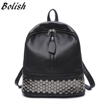 Bolish High Quality PU Leather Women Backpack Preppy Style School Backpack Black Mater Rivet Women Bag