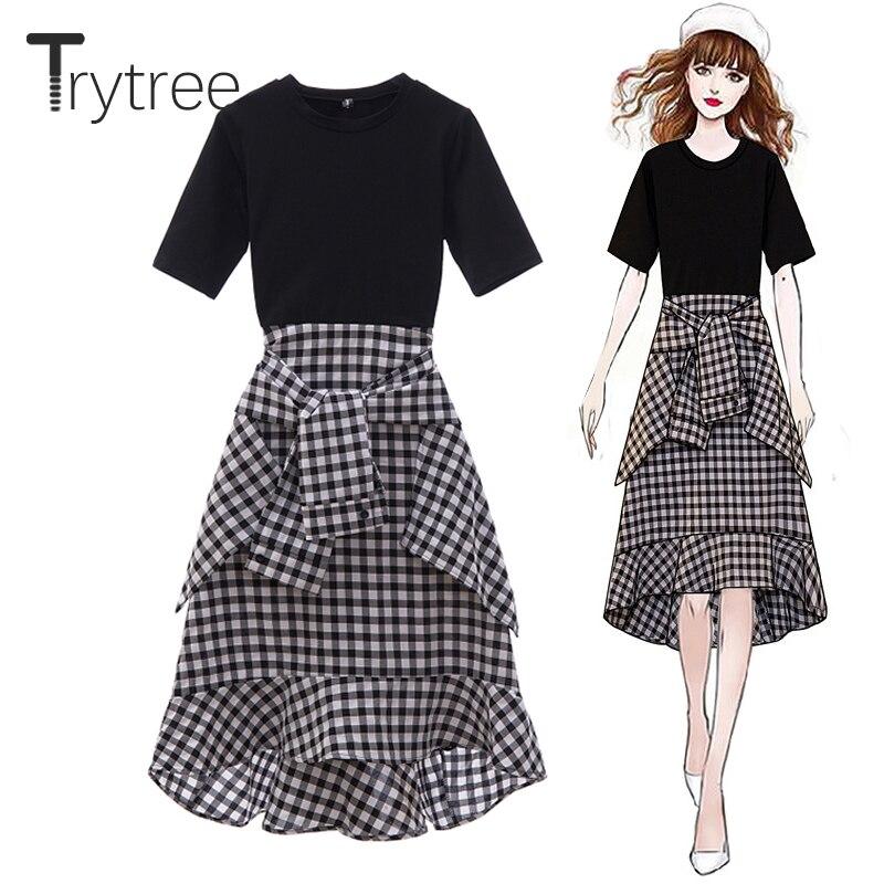 Trytree Summer Autumn Casual Dress Women O Neck t shirt Patchwork Plaid Ruffled Hem Dresses A Line Mid Calf Office Lady Dress