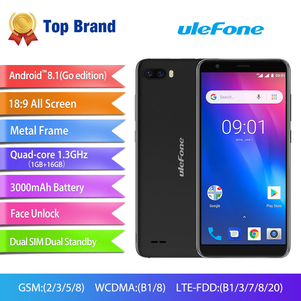 Ulefone S1 Pro Mobile Phone Android 8.1 5.5 inch 18:9 MTK6739 Quad Core 1GB RAM 16GB ROM 13MP+5MP Rear Dual Camera 4G SmartphoneUlefone S1 Pro Mobile Phone Android 8.1 5.5 inch 18:9 MTK6739 Quad Core 1GB RAM 16GB ROM 13MP+5MP Rear Dual Camera 4G Smartphone