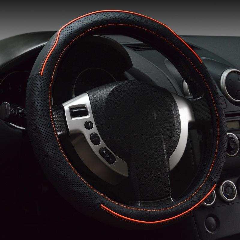 Cuero genuino cubierta del volante deportivo coche ruedas de - Accesorios de interior de coche - foto 3
