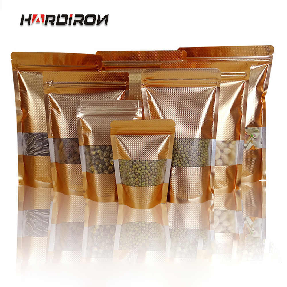 HARDIRON 100PCS Thick Gold and Silver Front Window Zipper Bag Small Dried Fruit Food Moisture-proof Packaging Sealed Bag