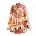 Новая Мода Цветочный Печатные С Длинным Рукавом Блузка Леди Laple Плюс Размер Свободные Осенние Длинные Рубашки Женщины Топы Blusas YY006