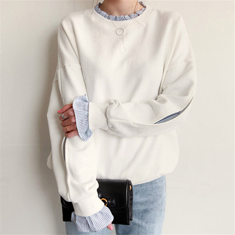 Casual Broadcloth Full Regular Solid Pullovers Lantern Sleeve O-neck Hoodies & Sweatshirts