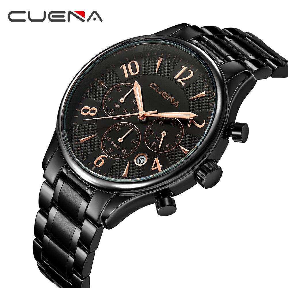 CUENA Quartz Watch Men Wrist Watch Fashion Casual Watch 30M Waterproof Watch Stainless Steel Dress Watch Male Best Gift 2018 цена и фото