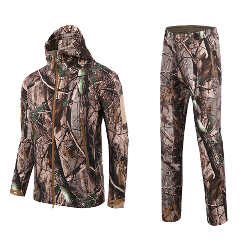 Wildgameplus Realtree Camouflage Hunting Clothes Waterproof Breathable Hunting Jacket Suits For Hunter Suit Shark Skin Camouflag