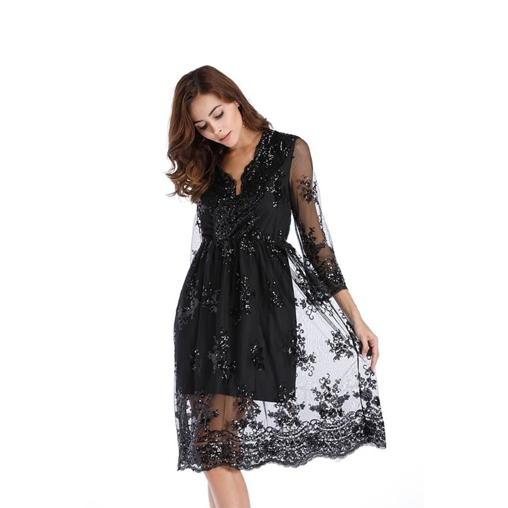 Mesh Lace Patchwork Women Dress Casual Long Sleeve Sexy V Neck Sequined A Line Wide Hem Dress Women Elegant Vintage Party Dress коктейльное платье