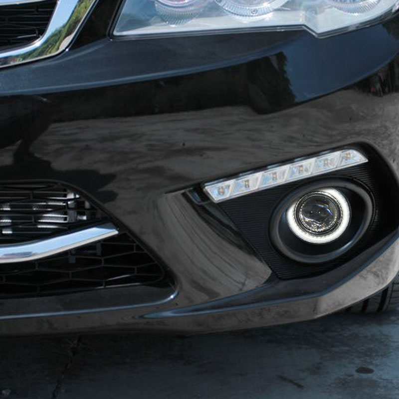 eOsuns Innovative LED COB angel eye + halogen Fog Light + Projector Lens for Mitsubishi FORTIS
