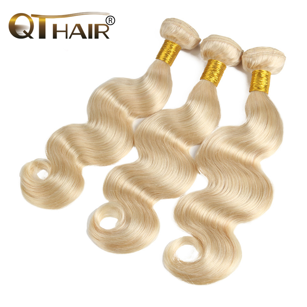 QT HAIR 3PC 613 Blonde Hair Brazilian Body Wave Remy Hair Weft Human Hair Weave Bundles 10inch To 28inch