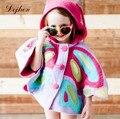 2017 Europe Kids Butterfly Costume Jacket Cloak for Girls Hoody Outwear Baby Girls Jackets Child Kids Girls Coat Children Cloak