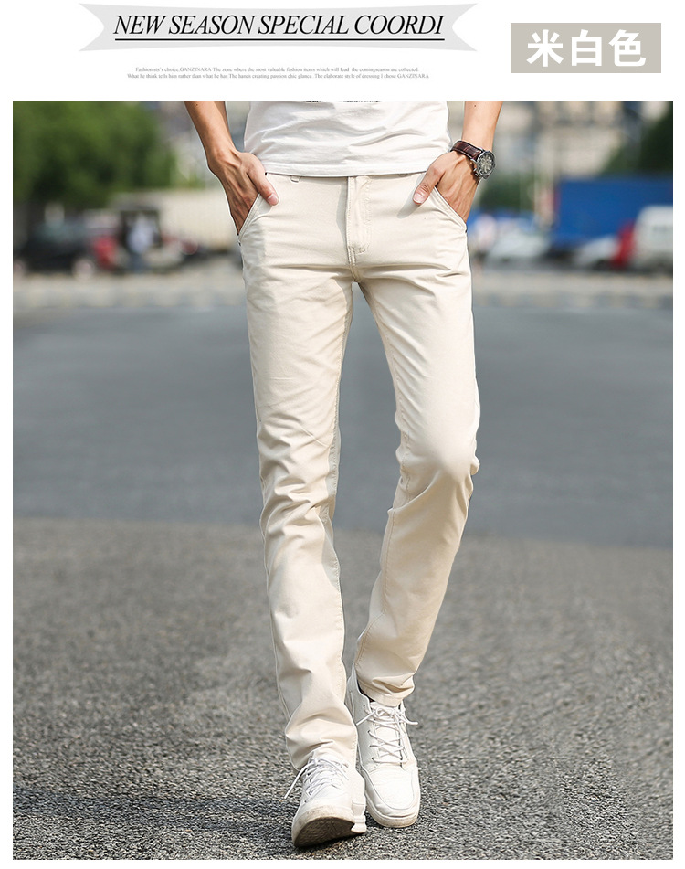 Business Casual Pants 11 Colors New Casual Pencil Pants Men Slim Pant Straight Trousers Solid Leisure Zipper Spring Summer k919 24
