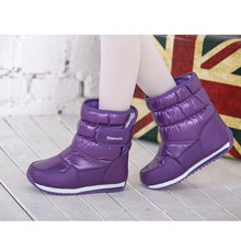 Mid-calf Warm Snow Boots Non-slip Children Shoes Black Purple Unisex Baby Shoes Winter Botte Leather Snow Shoe Kids Winter Boots