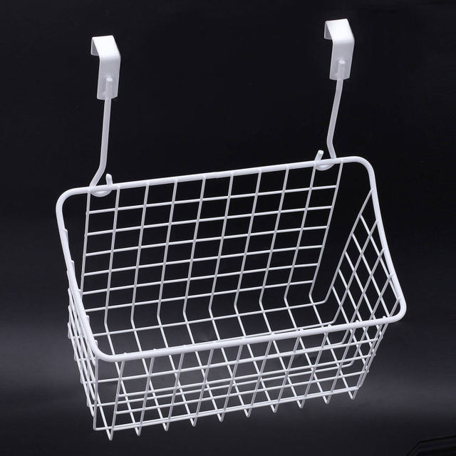 1X Elegant White Wall Hanging Storage Basket Space Save Rack Home Cabinets  Kitchen Bath Shower