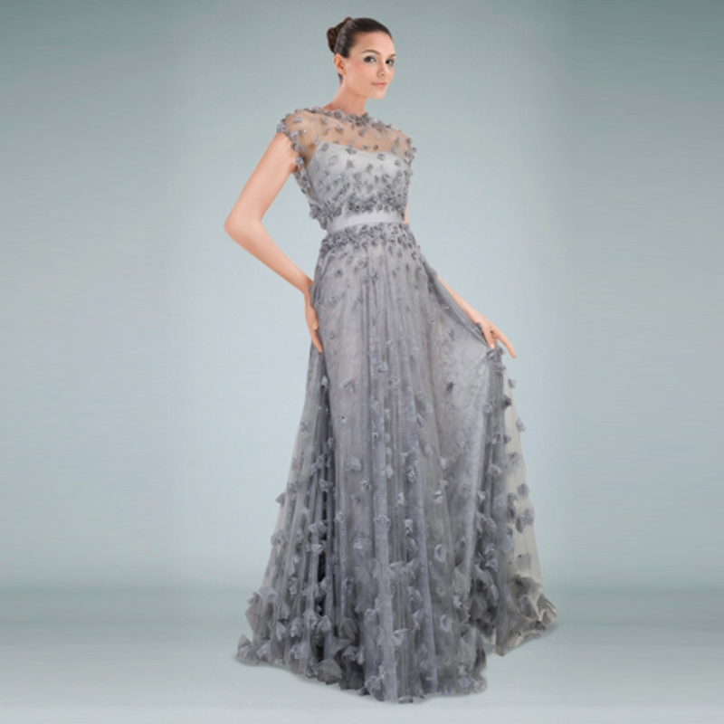 Romantic 3d Appliques Evening Gown Scoop Elegant Light Gray Evening