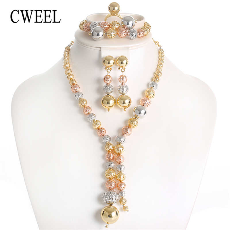 CWEEL Fashion Dubai African Beads Jewelry Sets for Women Wedding Vintage Indian Bridal Ethiopian Turkish Costume Jewellery Set