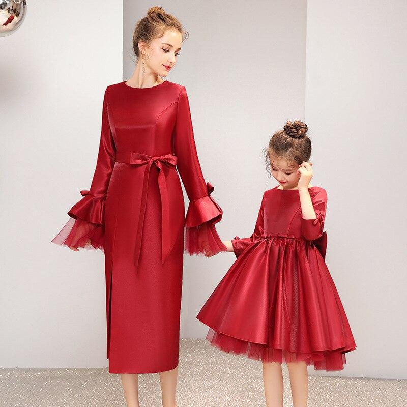 Printemps nouvelle famille maman et fille robes correspondant femmes bébé filles nœud papillon fête rouge Tutu robe vêtements tenue - 2