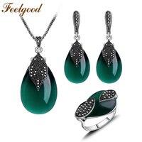 2015 New Arrival Jewellery Set Vintage Silver Plated Water Drop Shape Emerald Green Opal Stone Women