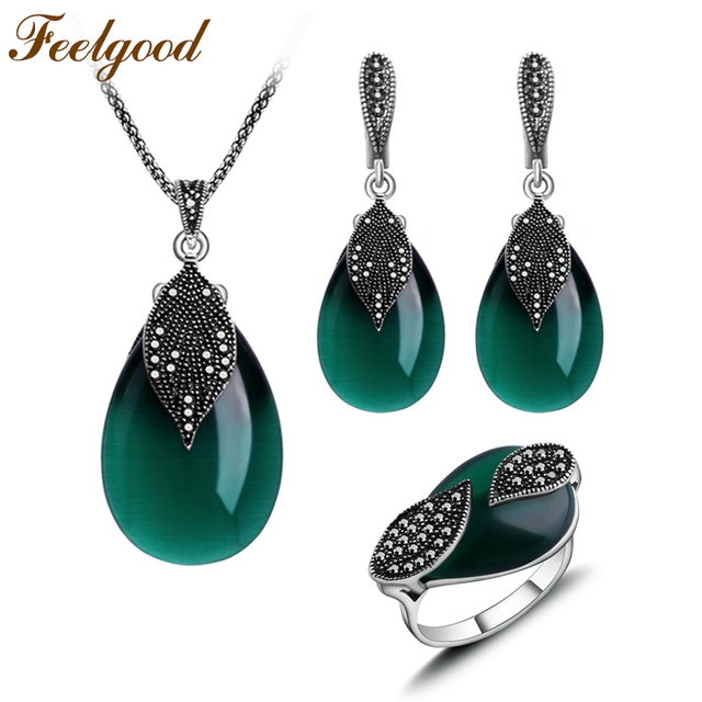 Feelgood Jewellery Set Vintage Silver Color Fashion Water Drop Green Natural Stone Opal Jewelry Sets For Women Party Gift