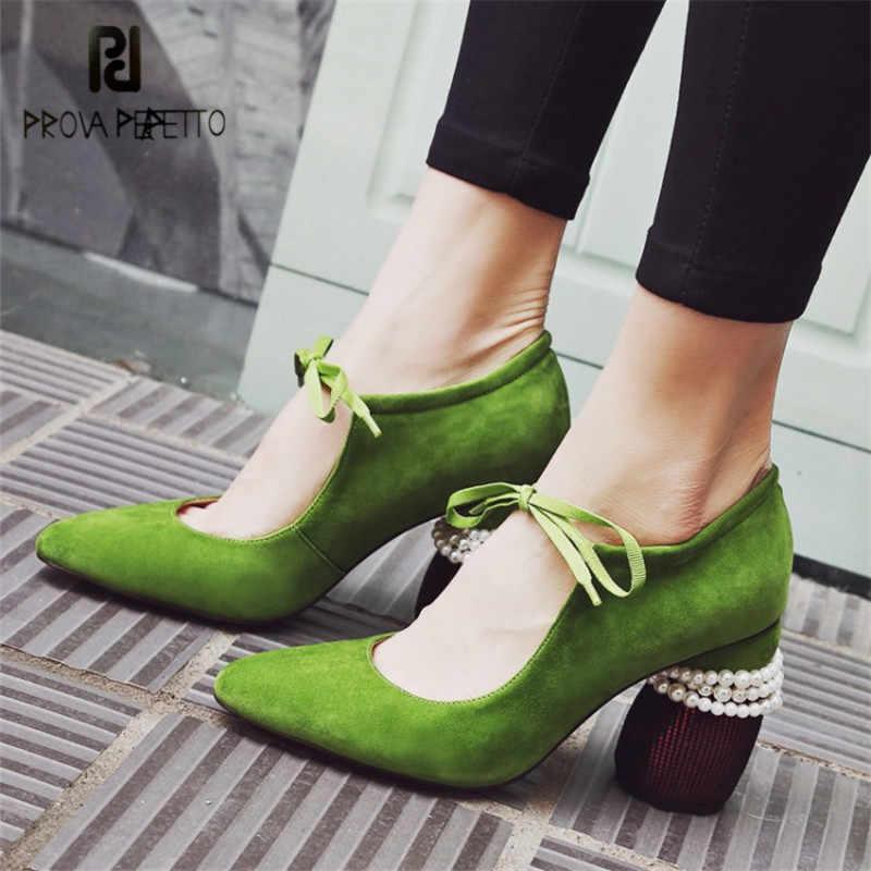 Prova Perfetto Retro Green Suede Women Pumps Strange Heel Ladies High Heels  Pearl Decor Prom Dress 17484a896757