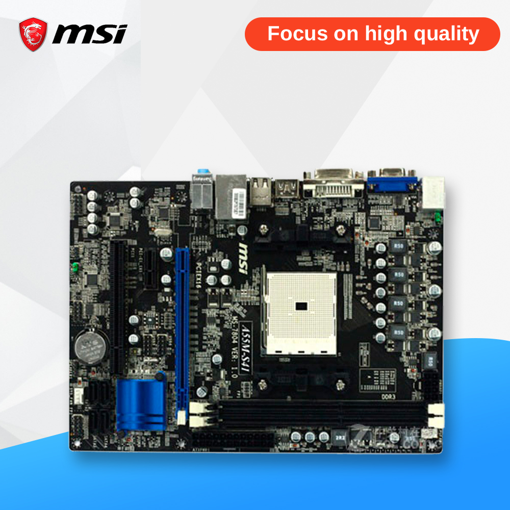 MSI A55M-S41 Original Used Desktop Motherboard A55 Socket FM1 DDR3 SATA2 USB2.0 Micro ATX msi p41 c31 original used desktop motherboard p41 socket lga 775 ddr3 4g sata2 usb2 0 atx