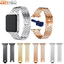 цена на For Apple watch Stainless steel link bracelet strap 42mm 38mm For iwatch 4 3 2 1 series bracelet wrist bands watchband with tool