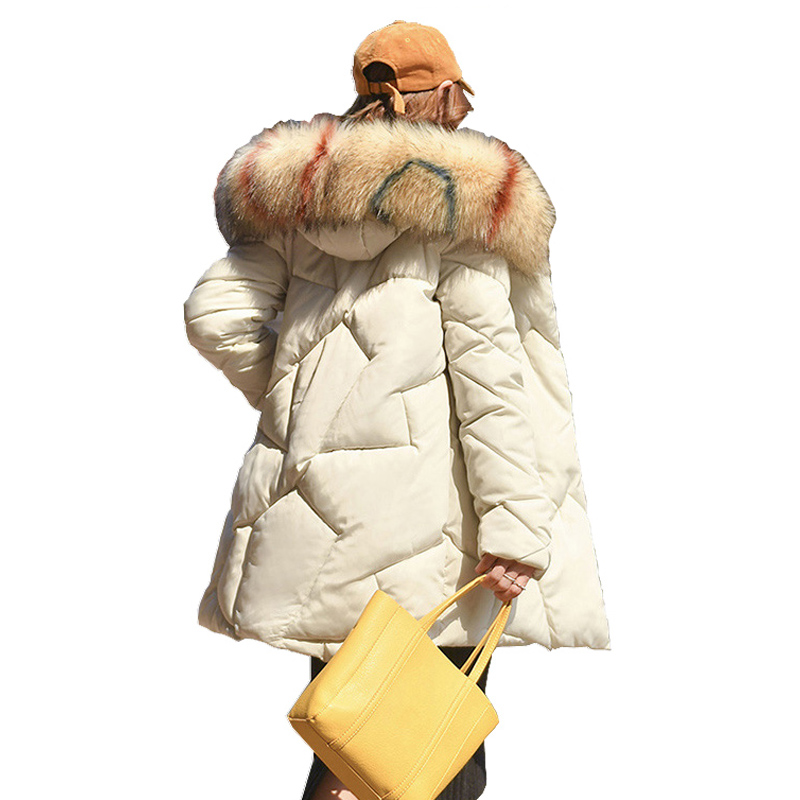 Ladies Coat Long Coats female heavy hair get long big yards warm coat of cultivate morality down long   parka   women 913