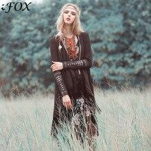 Осенний женский народный стиль лабиринт длинный кардиган с кисточками Женское пальто с манжетами вышитый цыганский стиль богемный Тренч