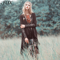 2020 Autumn Women Original Folk Style Maze Long Tassel Cardigan Coat Female Cuff Embroidered Gypsy Style Bohemian Trench