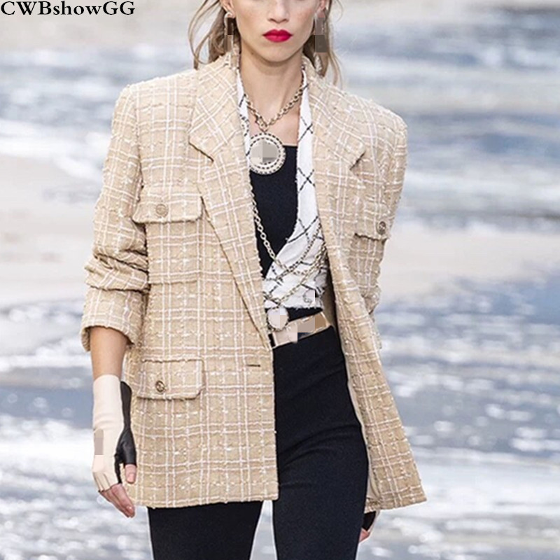 Small Fragrance Wind Tweed Luxury High Quality Jacket Female 2019 Autumn And Winter New Turn-Down Collar Single-Breasted Jackets