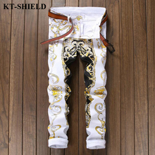 Hot! Fashion Men Jeans Spring Men's Casual Designer Denim Pants Slim Fit Trousers Male 2017 High Quality Cotton Printed Jeans