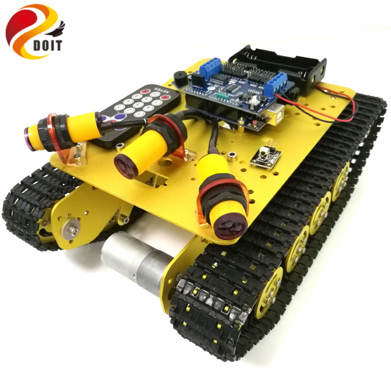 DOIT TS100 IR Control Shock Absorption Crawler Tracked Robot Tank Chassis with Obstacle Avoidance for Robot Education by Phone цена