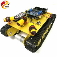 DOIT TS100 IR Control Shock Absorption Crawler Tracked Robot Tank Chassis with Obstacle Avoidance for Robot Education by Phone