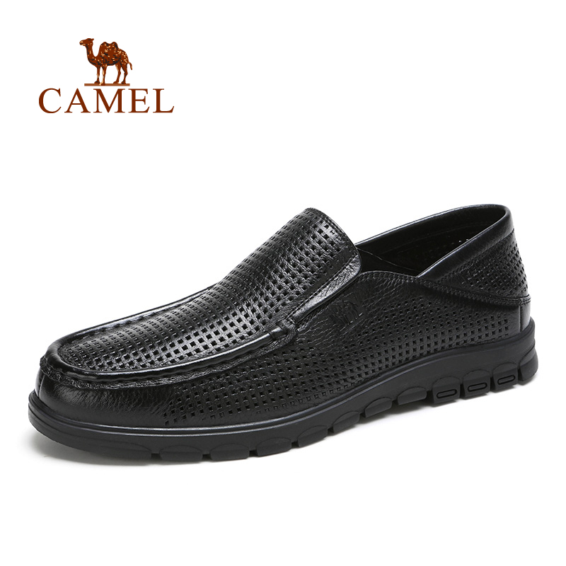 Camel Men's Casual Breathable Pierced Leather Slip-on Shoes A612282070 pierced