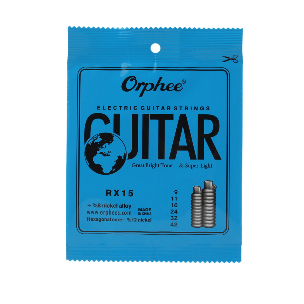 Orphee RX15 6pcs Electric Guitar String Set Hexagonal Core Nickel Alloy Strings with Bright Tone 009-042 orphee nx35 c full set black nylon classic classical guitar strings hard tension 028 045