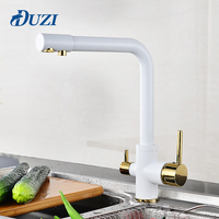 DUZI Drinking Water Filter Faucet White Golden Kitchen Sink Tap 360 Degree Rotation 3 Way Water